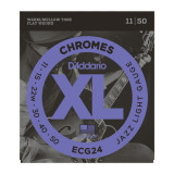 Струни для електрогітари D'addario XL Chromes Flat Wound Jazz Light ECG24